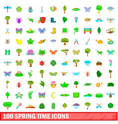 100 spring time icons set cartoon style vector