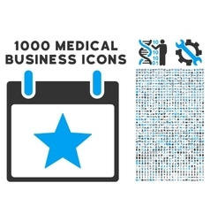 Star calendar day icon with 1000 medical business vector
