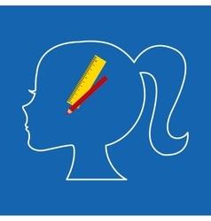 Silhouette head girl school ruler pencil vector