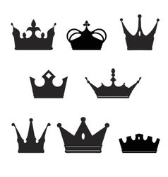 rown collection silhouette Heraldic elements set vector image