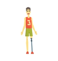 Guy in sportive outfit with artificial leg young vector