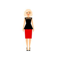 Beautiful blonde woman in office dress vector