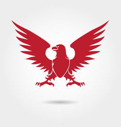 Red eagle heraldic style silhouette vector
