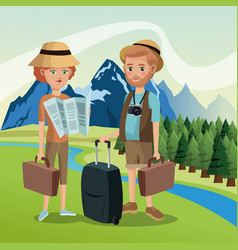 couple tourists traveler suitcases luggage map vector image
