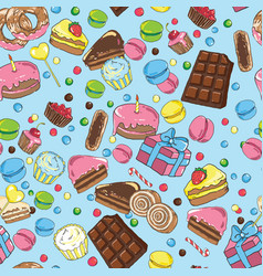 Seamless pattern from various sweets on blue vector