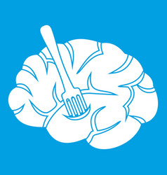 Fork is inserted into the brain icon white vector