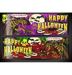 Banners invite for halloween party vector