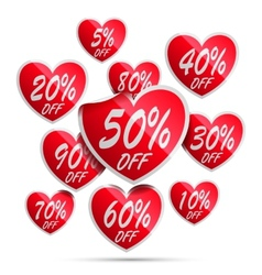 Heart sale labels vector