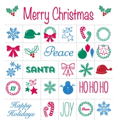 Christmas icons and text set vector