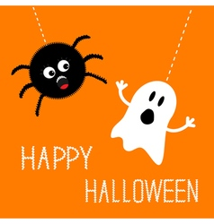 Hanging spider and ghost happy halloween card flat vector