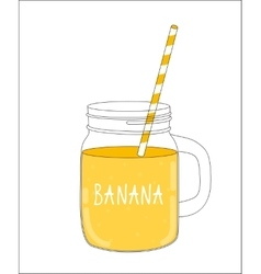 Fresh banana smoothie healthy food vector