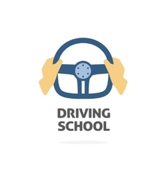 Driving school logo  hands holding sport vector