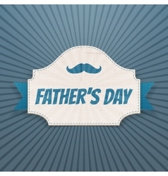 Fathers day card with greeting ribbon and text vector