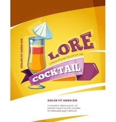 Cocktail bar poster template summer party vector