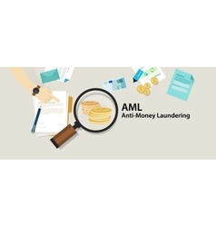 Aml anti money laundering cash coin transaction vector