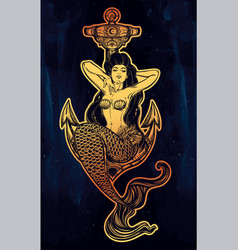 artwork of mermaid girl sitting on anchor vector image