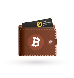 Bitcoin wallet logo with bank card vector