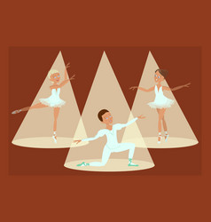 boy and girls ballet dancers vector image vector image