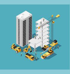 building construction 3d isometric concept vector image