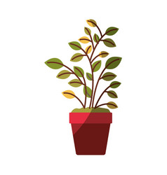 Colorful graphic of plant pot without contour and vector