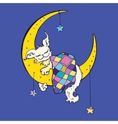 Cute dog sleeps on the Moon vector image
