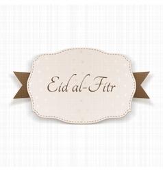Eid al-fitr decorative greeting label vector