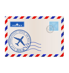 envelope with berlin stamp international mail vector image vector image