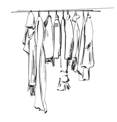 Hand drawn wardrobe sketch clothes on the hunger vector