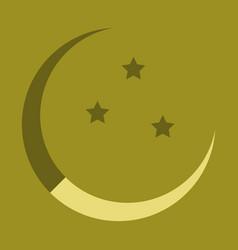 icon in a flat style ramadan moon and stars vector image