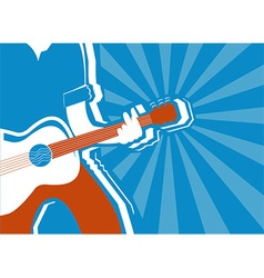 Musician and guitar background vector