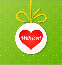 Paper ball with red heart on green background vector image