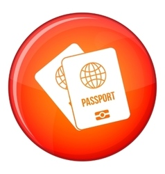 Passports with map icon flat style vector