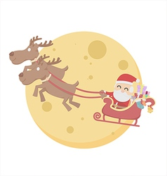 Santa claus over moon sky white background vector