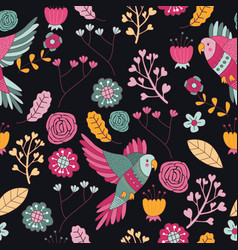 Seamless pattern bird pink floral wallpaper decora vector