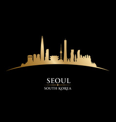 seoul south korea city skyline silhouette black vector image vector image