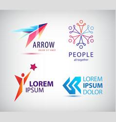 set of abstract logo design arrow vector image