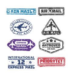 set of vintage postage mail stamps vector image vector image
