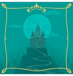 square cartoon background with castle vector image