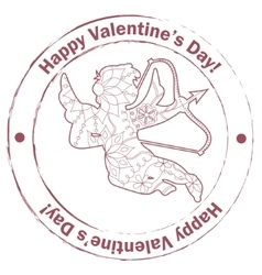 Stamp retro with Cupid vector image