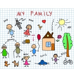 Stick family drawing vector