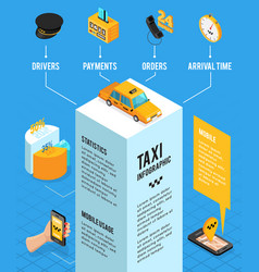 taxi service isometric infographics layout vector image vector image