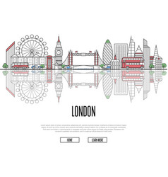Travel tour to london poster in linear style vector