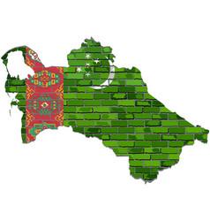 Turkmenistan map on a brick wall vector