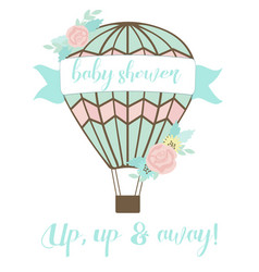 Welcoming baby card with air balloon and flowers vector