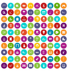 100 amusement icons set color vector