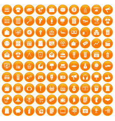 100 marketing icons set orange vector