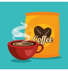 Cup and bag coffee graphic vector
