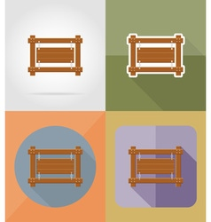 wooden board flat icons 04 vector image