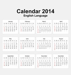 Calendar 2014 English Type 11 vector image