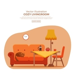 Living room cozy colorful cartoon interior vector